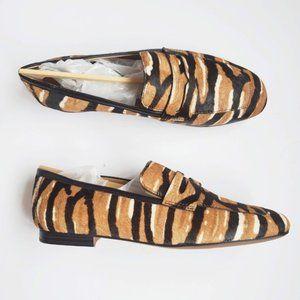 Franco Sarto Dame Tan Calf Hair Print Loafer